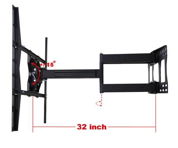"""Articulating / Full-Motion Wall Mount Bracket for 37"""" ~ 70"""" up to 200lbs max. Max VESA 800x600-94"""