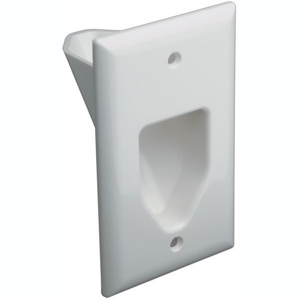 DataComm 45-0001-WH Cable Pass through Single Gang Recessed Wall Plate-0