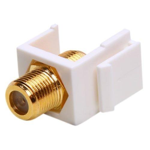 F Connector RG6 / RG59 Coaxial Keystone Jack (White)
