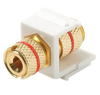 Banana Plug Binding Keystone Jacks - 1pc Black Ring & 1pc Red Ring (White)-909