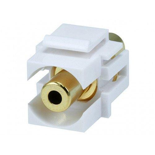 """3.5mm Stereo """"Flush"""" type Keystone Jack (White)"""