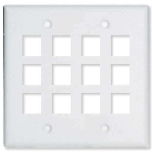 2 Gang Wall Plate for Keystone - 12 Ports
