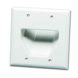 DataComm 45-0002-WH Cable Pass through Double Gang Recessed Wall Plate-219