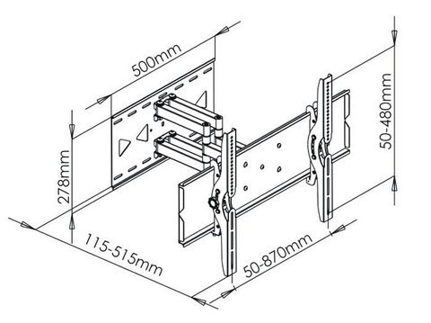 """Articulating / Full-Motion Wall Mount for 42"""" ~ 70"""" & max weight up to 220lbs. Max VESA 770x480-277"""