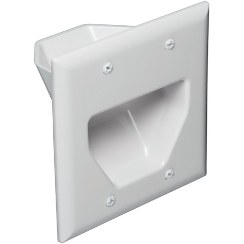 DataComm 45-0002-WH Cable Pass through Double Gang Recessed Wall Plate-220