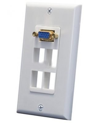 VGA Wall Plate with 4 Keystone Ports (Single Gang)-0