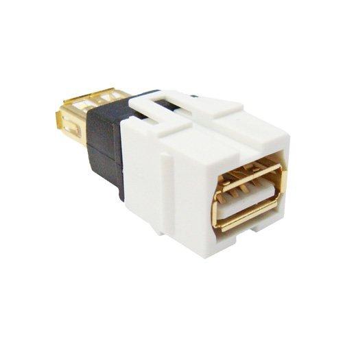 USB 2.0 Type A Female to Female Coupler Keystone Jack (White)
