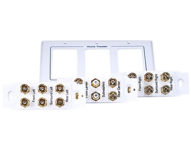 White Decora Wall Plate with 2 Binding Post Strap Insert