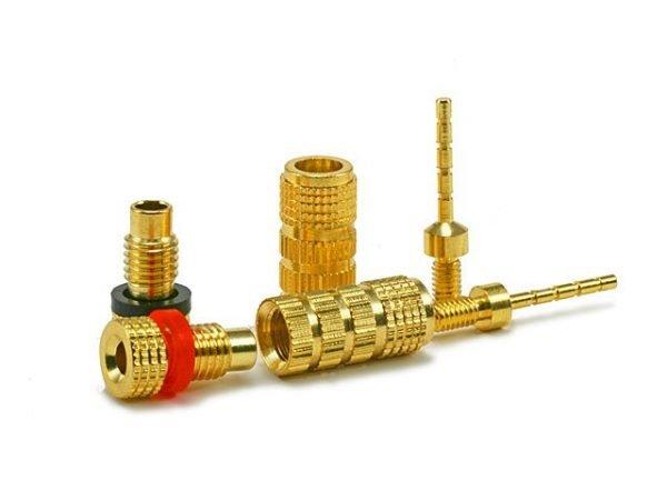 Non-Banana Plugs - Pin screw type (5 pairs) Gold Plated-425