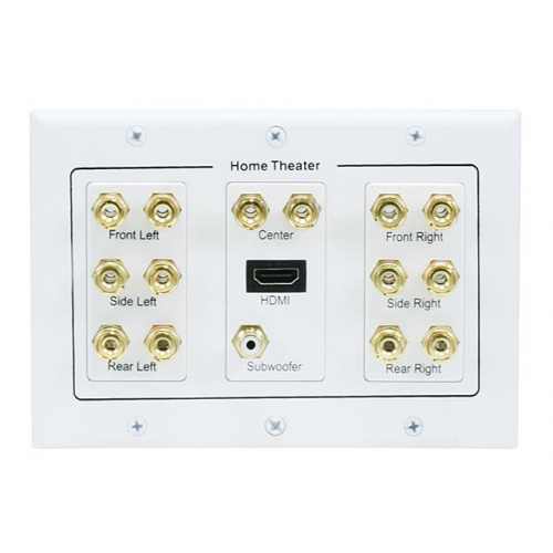 7.1 Surround Sound Distribution Wall Plate - 3 Gang