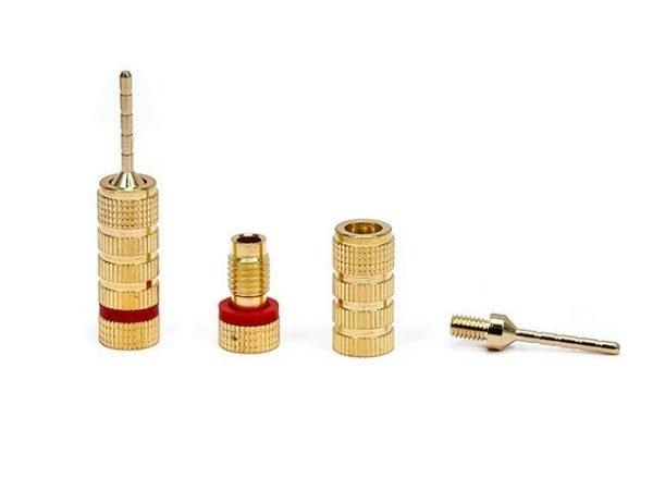 Non-Banana Plugs - Pin screw type (5 pairs) Gold Plated-424