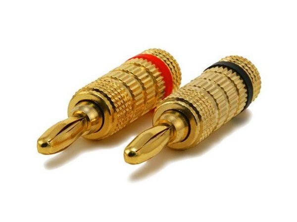 Closed screw type banana plugs - Front view