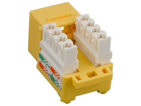 CAT6 Punch Down Keystone Jack (Yellow)
