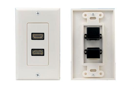 2 Port HDMI Wall Plate - Coupler Type with Right Angle Connection -0