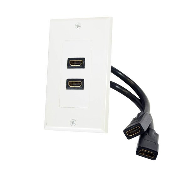 2 Port HDMI Wall Plate - Coupler Type with 3 inch cable extension-0