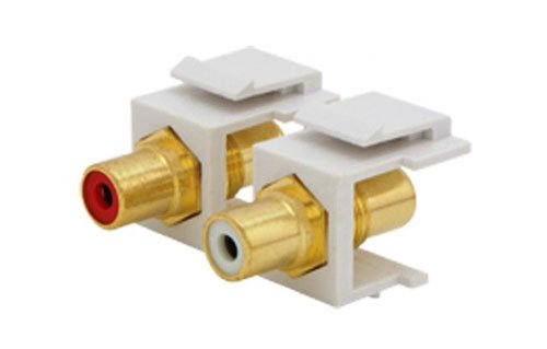RCA Analog Audio - Red & White Center Keystone Jacks (White)