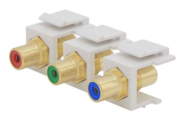 RCA Component Video - Red   Blue   Green Center Keystone Jacks (White)