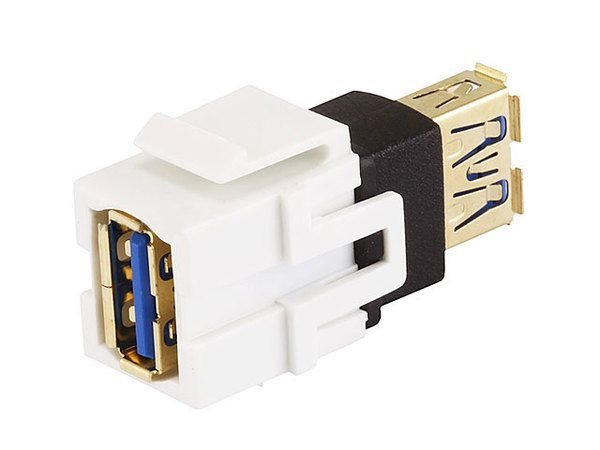 USB 3.0 Type A Female to Female Coupler Keystone Jack (White)