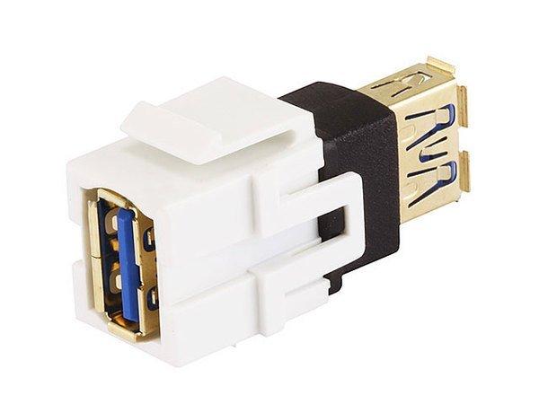 USB 3.0 Type A Female to Female Coupler Keystone Jack (White)