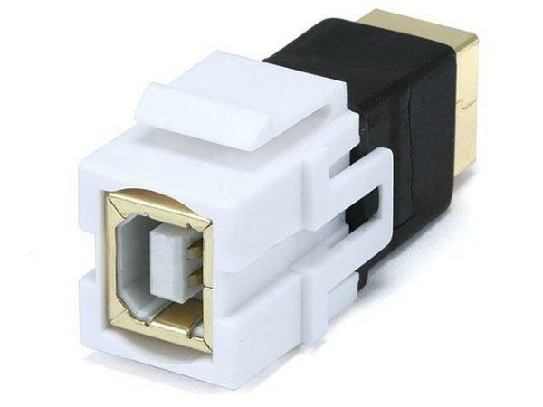 USB 2.0 Type B Female to Female Coupler Keystone Jack (White)