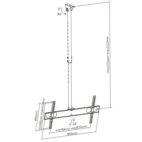 """Ceiling Mount for TV size 37"""" to 65"""" & up to 110 lbs max capacity. Max VESA 800x400"""