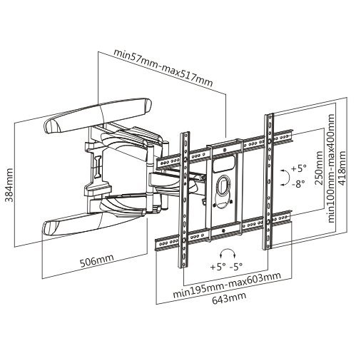 """Low-Profile Slim Articulating / Full-Motion Wall Mount for 37"""" ~ 70"""" TVs & Max weight up to 140lbs. Max VESA 600x400-1194"""