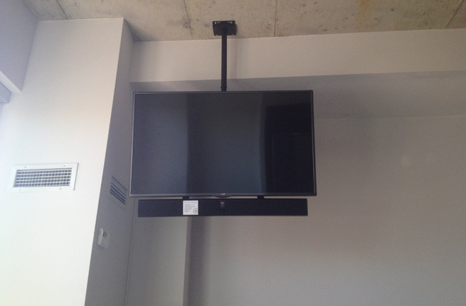 Sound Bar Installation with Ceiling Mounted TV