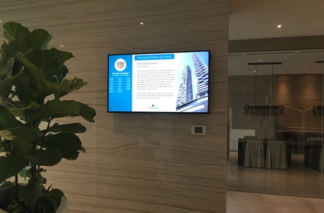 DIGITAL SIGNAGE FOR CONDO BUILDING ANNOUNCEMENTS