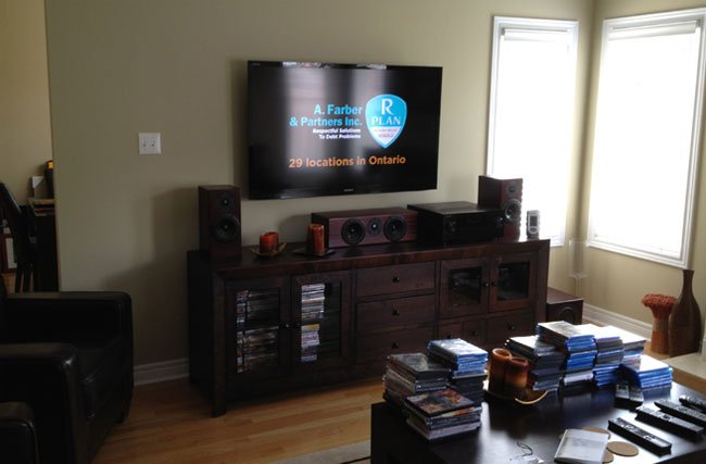 Home Theater Installation with Bookshelf Speakers