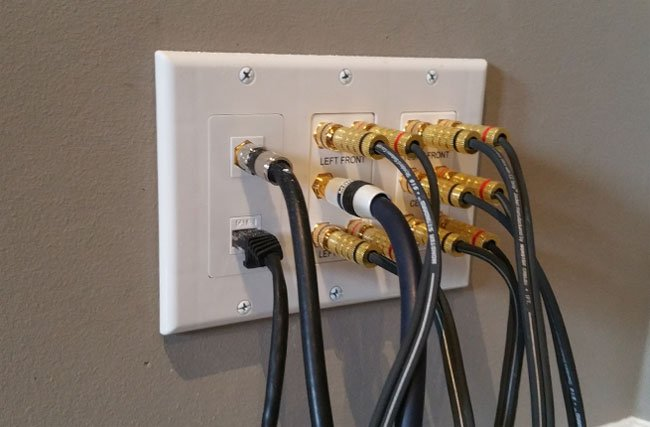 Custom Wall Plate Installation for Home Theater System