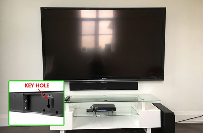 SOUNDBAR MOUNTING USING KEY HOLES ON THE BACK OF SOUND BAR