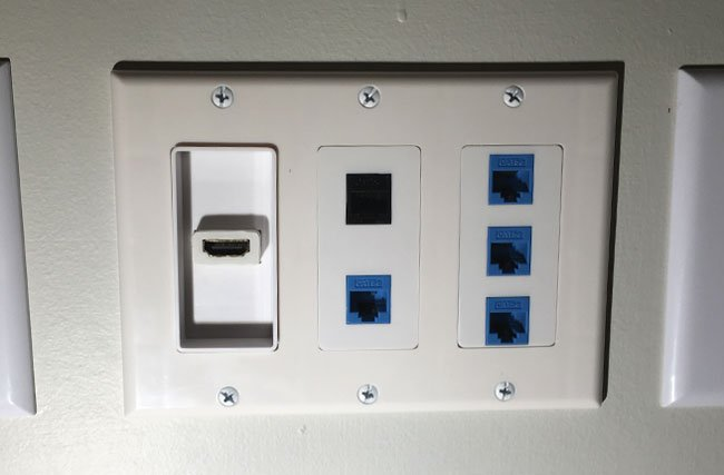 CABLES TERMINATED WITH MULTI-GANG CUSTOM WALL PLATE