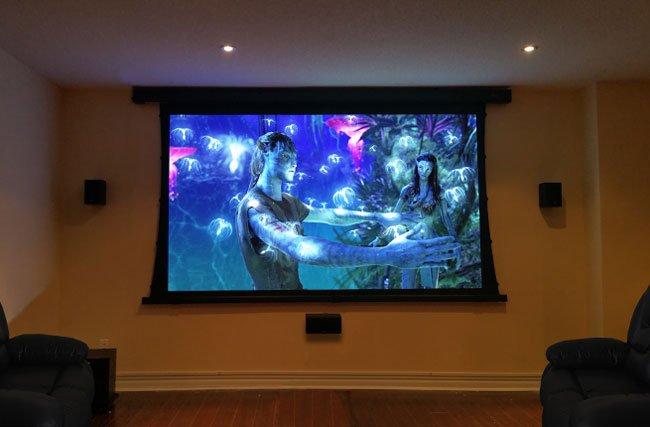 Tensioned motorized projector screen installation