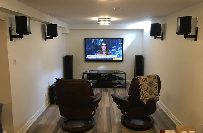 Home Theater Installation with Tower & Bookshelf Speakers
