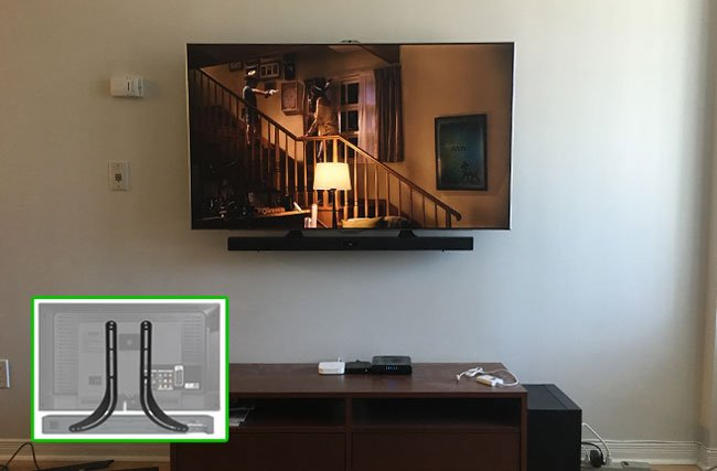 SOUNDBAR MOUNTING USING UNIVERSAL SOUND BAR BRACKETS