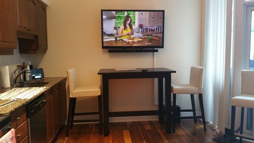 TV & Soundbar wall mounted in small condo - Wires hidden with cable raceway