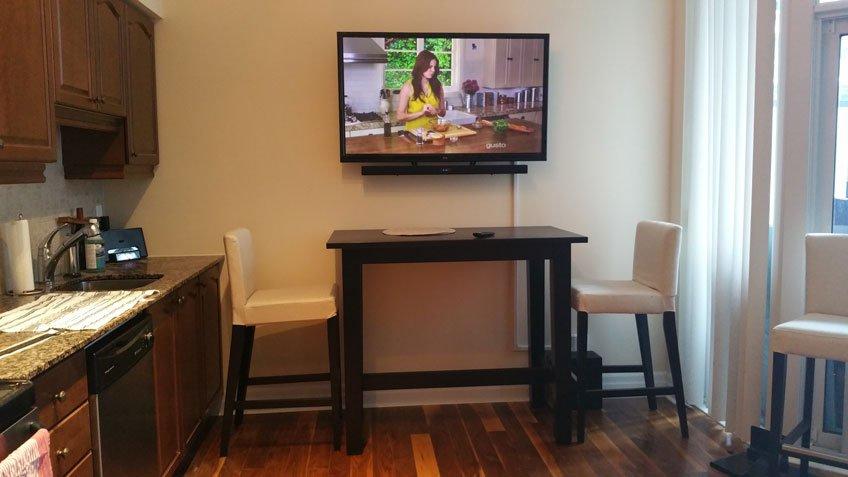 TV & Soundbar wall mounted in small condo - Wires hidden with cable raceway