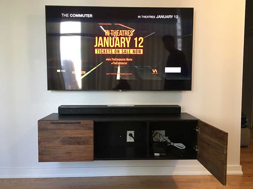 Floating Media Console with Doors