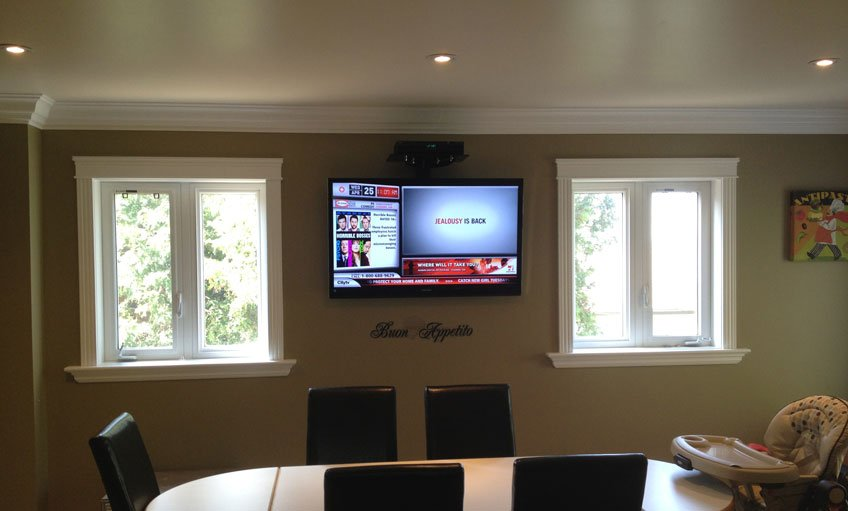 Single component shelf mounted above the TV for cable box