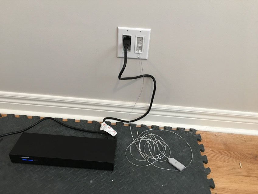 Expensive Samsung QLED TV Protected by UPS (Uninterruptible Power Supply) by Using Bridge-Style Power Kit