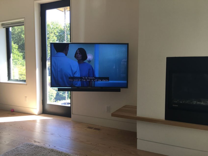 TV & Soundbar rotating together with Full motion wall mount