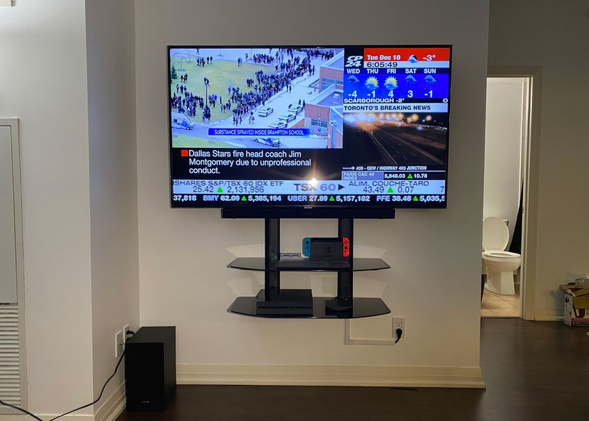 """Double extra wide component shelf installed below 65"""" TV and soundbar (1 of 2)"""