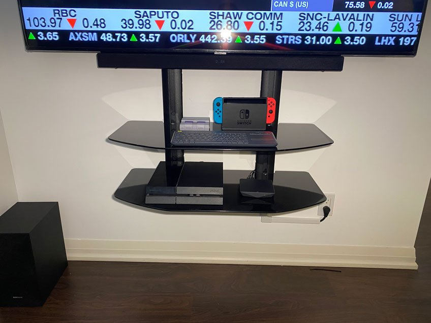 """Double extra wide component shelf installed below 65"""" TV and soundbar (2 of 2)"""