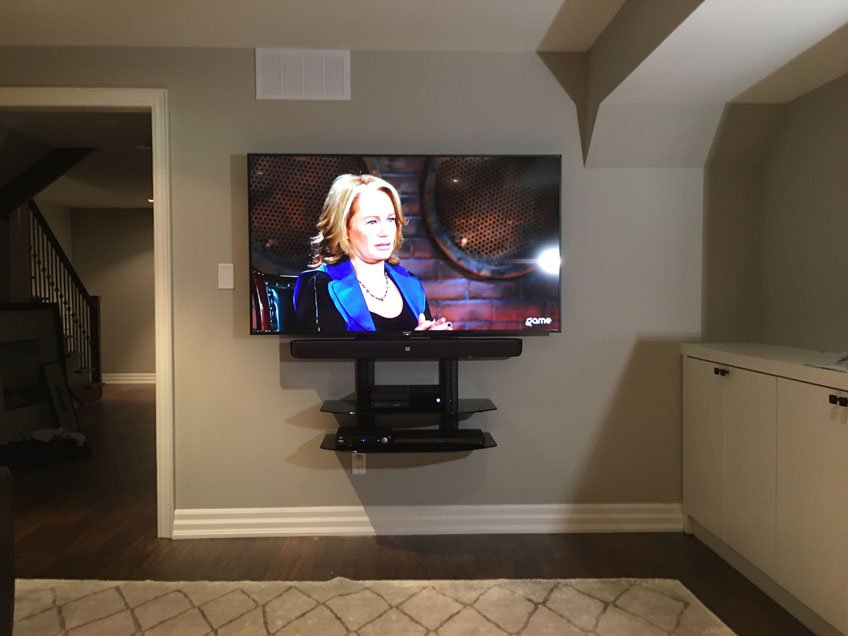 Double Extra Wide Component Shelf Mounted Below the TV