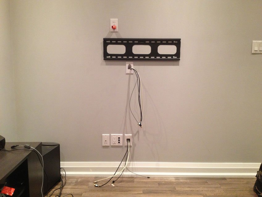 Power Outlet Installed Behind the TV & HDMI cables fished vertically down in the wall