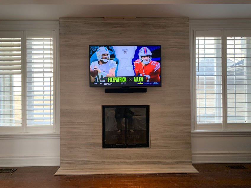 TV & Sonos Beam soundbar pushed back against the wall