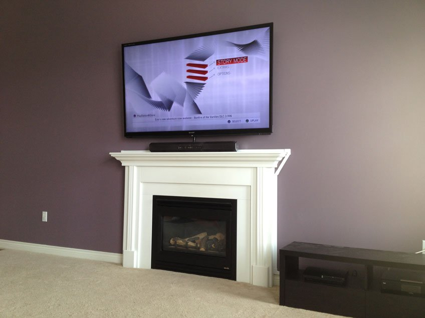 TV Wire management with wire raceway above fireplace