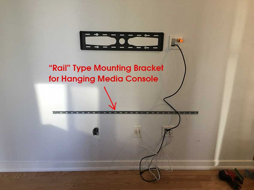 Rail Type Mounting Bracket For Hanging Floating Media Console
