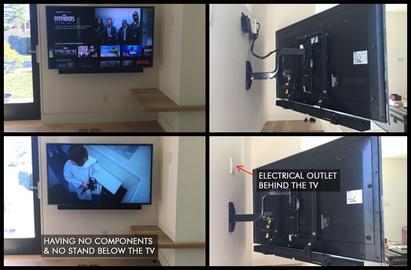 TV wall mounted with electrical outlet installed behind the TV