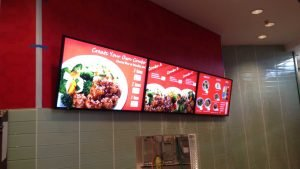 3x1 Digital menuboard installation in a takeout restaurant